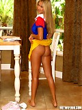 Rio trying on a snow white costume with sexy red stockings