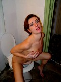 Horny housewife visit a toilet