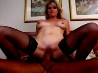 Flirty Amanda gets stripped and sticks a stiff cock in her pussy