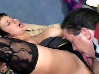 Brunette Jedah strips off and jams a large cock in her pussy