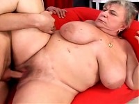 Mature BBW gets some  young hard cock deep inside her twat