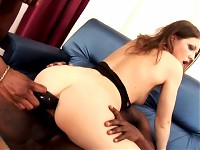 Wonderful gal gets roughed up in hot interracial gangba..