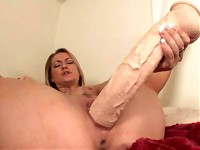 Slutty gal love big toys and fuck her tight pussy with ..