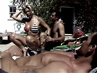 Horny Transsexual Enjoys Fucking With Two Hot Dudes Out..