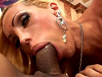 Whorish blonde tranny gets some cock deep up her ass