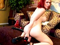 Georgeous red headed toying her pussy & ass at the same..