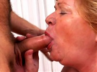 Old woman goes wild for young dude's cock and gets crea..