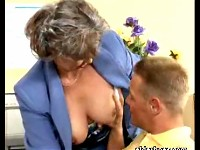 Granny secretary in nylon stockings getting fucked in the office