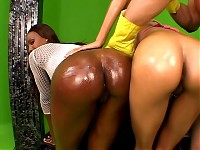 Two ebony bitches get their round asses destroyed by an..