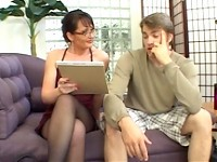 Holly Hughes thinks she might teach this young man some responsibility. Whos Your Mommie means showing him what is required of any good lover and helping him follow through with a full practice session that includes plenty of pussy, mouth and asshole!