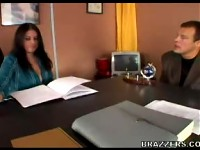 Busty office girl Daphne Rosen gets busy with a coworke..