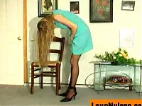 Black-stockinged chick seducing security man with the t..