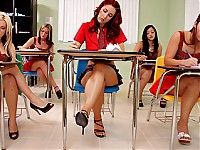 When Kylee and the girls learn that they have a substitute teacher, things turn wild in class. Kylee incites everything by dancing and stripping on her desk!Mr.Hack can't control the girls as papers start being tossed around, girls making out with each other, just all out debauchery!Mr.Hack decides to put his foot down starting with the ring leader Kylee!He shows her how girls who want to strip and flash their tits get treated!Kylee learned a real hard lesson today but took it to the chin very well.