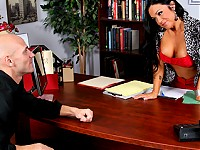 Johnny is doing his PhD at Brazzers University under the mentorship of Cherokee. He meets at her office for the weekly meeting with the mentor. After one too many test and distractions, he confronts her with his issues. She lets him know that he's been performing well. She then has him fuck her on her desk for the ultimate test.