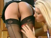 Blonde In Lingerie Licking The Maids Pussy