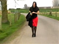 Sexy Secretary takes a walk through the park in her naughty heels (becky country)