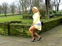 Blonde page 3 girl in secretary pantyhose outdoors (Mel..