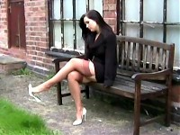 Business woman shows her FF stockings and stilettos (do..