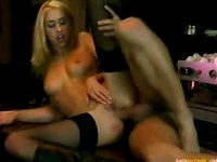 Blonde babe in black stockings fucking with a barman