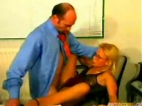 Secretary Slut Takes Her Boss In All Her Holes!