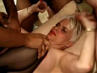 Blonde granny is gangbanged by several guys
