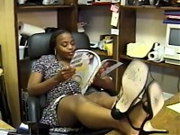 Secretary fucks right in the office table