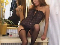 Charmaine pleasures slit in front of mirror