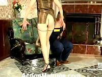 Lewd mom in silky hose giving legjob burning with desire for hard drilling