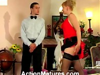 Horny waiter eagerly tasting pussy-treat of extremely seductive mature babe