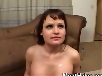 What's better than fucking this little whore after a face pounding? Well, having her suck the nastiness of her holes off of the cock after each fuck, of course! She also swallows every last drop of the jizz that was left in her mouth but she's used to that taste.