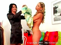 Two Babes in Silk Feel Each Other Up