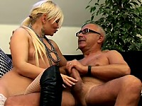 Filthy blonde British slut enjoys an old big stiffy coc..