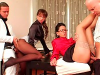 Babes Get Beefed in Fully-Clothed Four-Way Office Meating