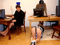 "Michelle applies for a job as a secretary at a small company but... she really can't do anything! ""But I do give great blow jobs,"" she says so she is allowed to give a demonstration. After she sucked their dicks until they're hard they fuck the dirty slut"