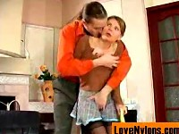 Naughty coed teasing her nylon crazy tutor and getting ..