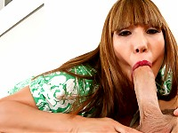 Ava Devine grabs his balls and deepthroats his cock.