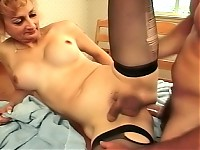 Aged shemale blondie in stockings blowjobs then spreads wider to get hard anal fuck