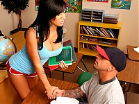 Mason Moore is a fucking prude with huge tits. She prances around school with low cut shirt all the time. Barry Scott has been trying really hard to study but cant seem to get focused enough because he has an obsession with boobies. Mason turns Barry's obsession into a magnificent teaching tool. Barry gets an A and Mason gets a cum facial.
