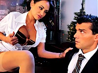 Is Christmas eve and Ramon is about to go home to celebrate. Claudia, his boss shows up with more work for him to finish right away. Ramon is not happy but all this is just a scam to pressure him. Claudia starts to ask very intimate questions about his sex life. Felling uncomfortable, Ramon tries to leave but she threatens him and ask him to fuck the shit out of her or loose his job.