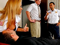 Keiran accidentally slips on the floor at work and hurts his back. When his friend Matt walks in he tries helping him out but he is in to much pain so he calls the ambulance for him. When the paramedics arrive Rachel Starr makes sure he nurses Keiran back to health by giving him 'The Medic Special.'