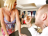 It's Scott Nails' Birthday and his beautiful girlfriend Maya Devine wants to do something special for him. Taking advantage of her sorroundings, she decides to convince the maid, Tori Black to join in on the fun. They give Scott the best gift ever, 2 pairs of tits and 6 holes.