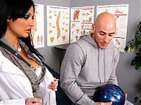 Johnny has a bowling ball stuck on his cock and to much surprise his Doctor finds the only way to keep his cock intact without any compromise is to get him so hard it shoots right off his cock. The final step is to make sure his cock didn't suffer any side effects and all it takes is a good blowjob and a tight warm pussy.
