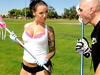 Emily Parker is a mean lacrosse player and today she is giving Johnny's Sins a private lesson. Johnny cannot take his eyes off Emily's beautiful breast which totally messes his game up. After the lesson Emily sneaks into the shower with Johnny to give him a reward for all the hard work.