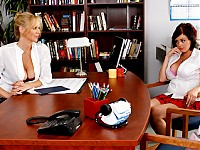 Katie's called in to Ms. Ann's office over rumors that Katie's been spreading around school. Turns out that Katie's jealous that Ms. Ann's been flirting with other girls but not her. Katie's never been with a girl before, and wants Ms. Ann to prove that Katie's as hot as the other girls in class. Ms. Ann shows her once and for all that Katie makes for a very hot lesbian!