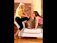 Lesbian strap on sex action