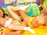 Lesbian teens on the bed