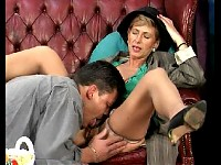 Granny in nylon stockings gets her pussy licked