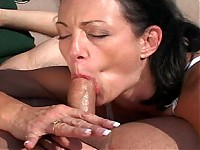 Sexy old chick Jessica Cummins blows this young hard cock with pleasure