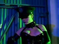 Redhead cop fucking in latex stockings and uniform