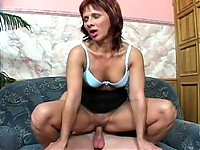 Hot MILF Cindy gets the massive dick through her blue panties